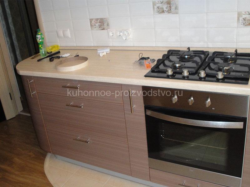 Прямая кухня с радиусом на конце на заказ
